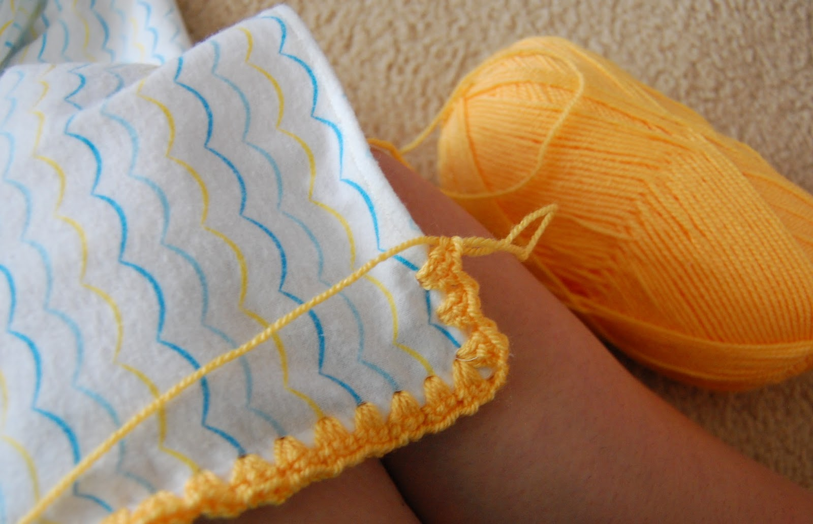 Crochet Baby Blanket Edging Tutorial : thistlebear: Crochet-edged receiving blankets