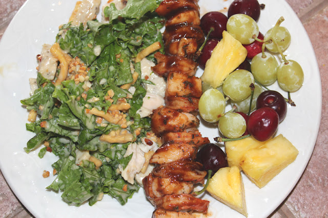 Grilled Shrimp, Scallops w/Salad and  Fruits