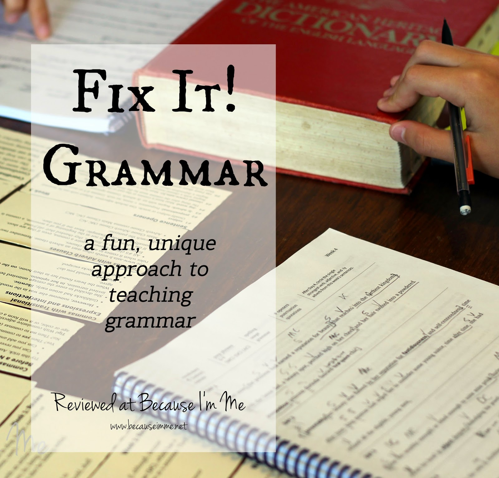 Fix It Grammar review at Because I'm Me, a unique approach to teaching grammar for for kids in 3rd through 12th grades