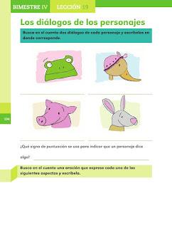 Apoyo Primaria Español 2do grado Bloque 4 lección 19 Los diálogos de los personajes