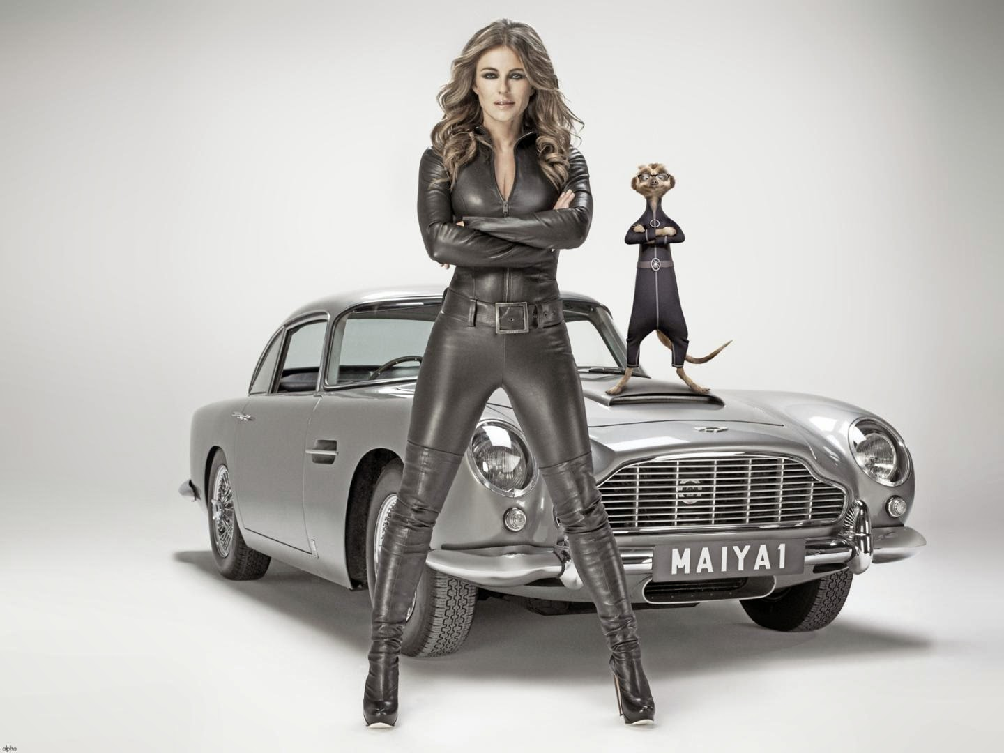 Elizabeth hurley hot leather catsuit wallpapers sexy leg