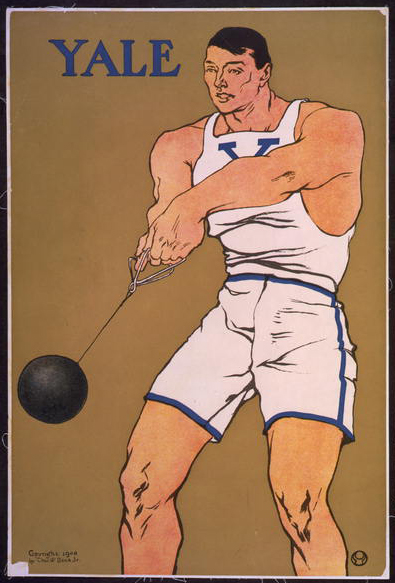advertising, classic posters, free download, graphic design, retro prints, sports, vintage, vintage posters, Yale, Hammer Thrower - Vintage Sports Athletics Poster