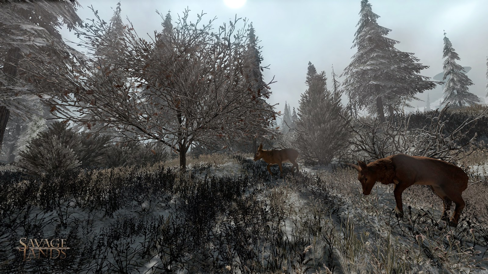 Deer feasting on polygonal sprites in Savage Lands
