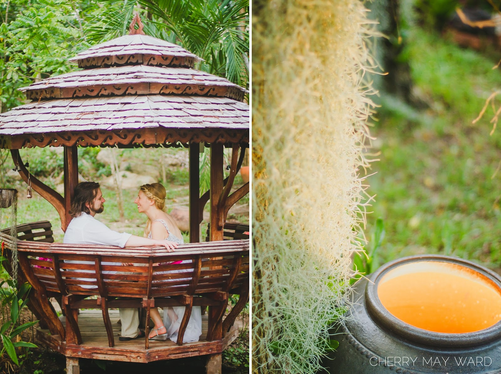 bride and groom sitting in Thai Sala or Pavilion, beautiful thai gardens, air grass, beautiful gardens, Private Thai villa