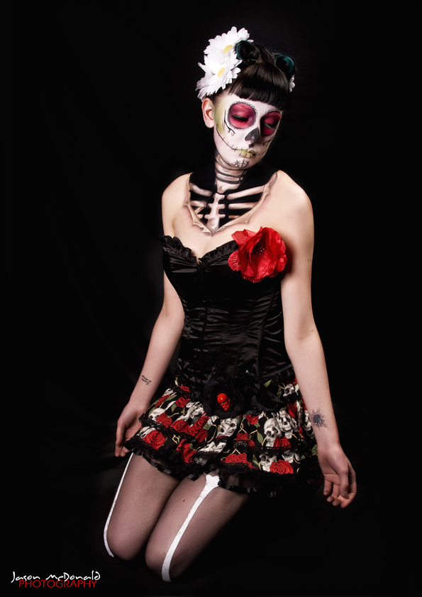 Sugar Skull Pin Up http://deelicioushairart.blogspot.com/2011/05/its-raining-pin-ups.html
