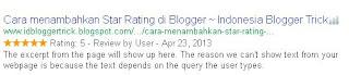 Mengecek Star Rating dengan tool Google