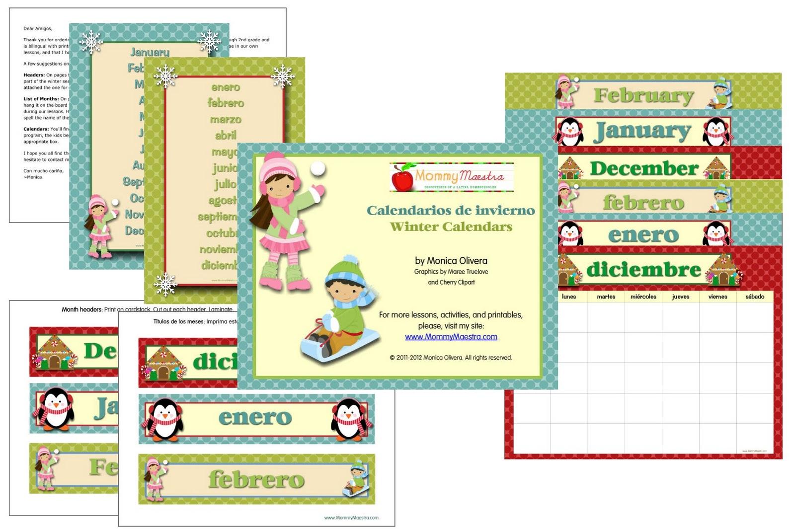 Snowflake Calendar Printables : Mommy maestra bilingual winter calendars printable