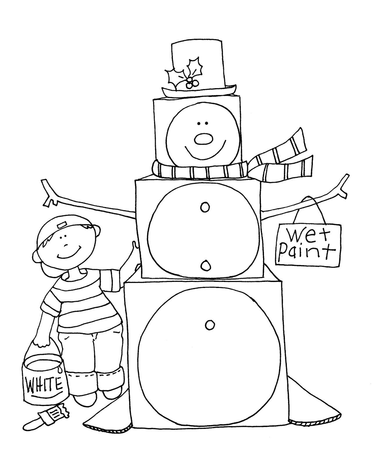 free dearie dolls digi stamps  cardboard box snowman