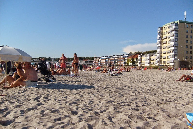 Visitors Relaxing at Beach in Helsingborg, Sweden