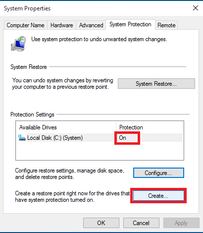 Cara Membuat Restore Point di System Restore Windows 10