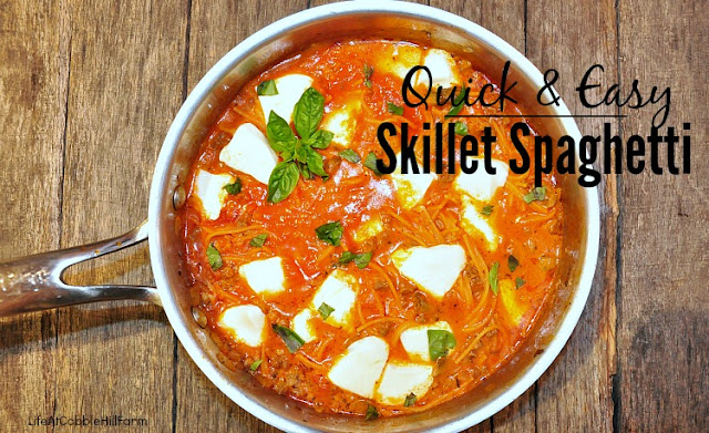 quick and easy one-pot meal: Skillet Spaghetti is super easy AND delicious!