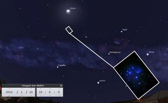 Bulan Bertemu Gugus Bintang Pleiades Malam Ini