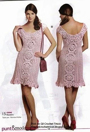 vestido para dama tejido al crochet - con diagramas y patrones