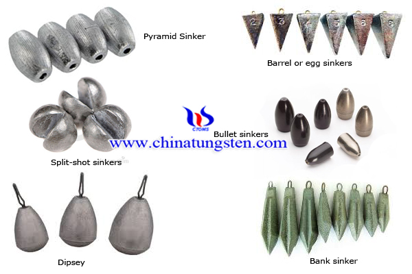 Tungsten alloy counterweights 2013 for Types of fishing sinkers