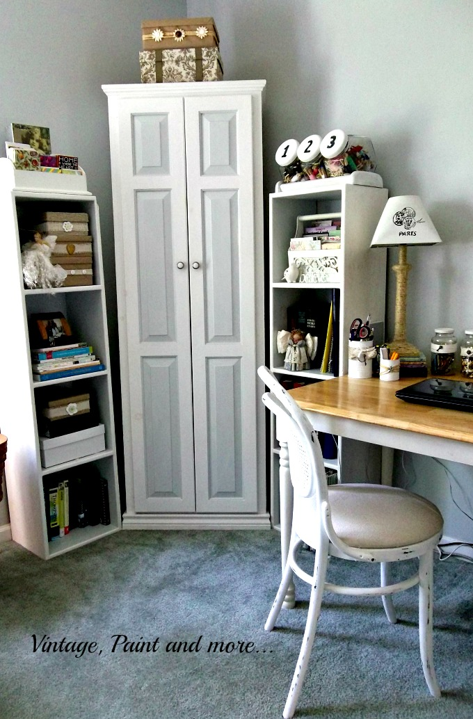 Vintage, Paint and more... vintage craft space, white painted furniture, bentwood chair, creative storage