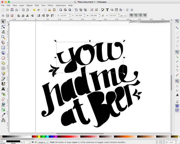 Tutorial: Use the free application Inkscape to trace and vectorize your illustration and hand lettering