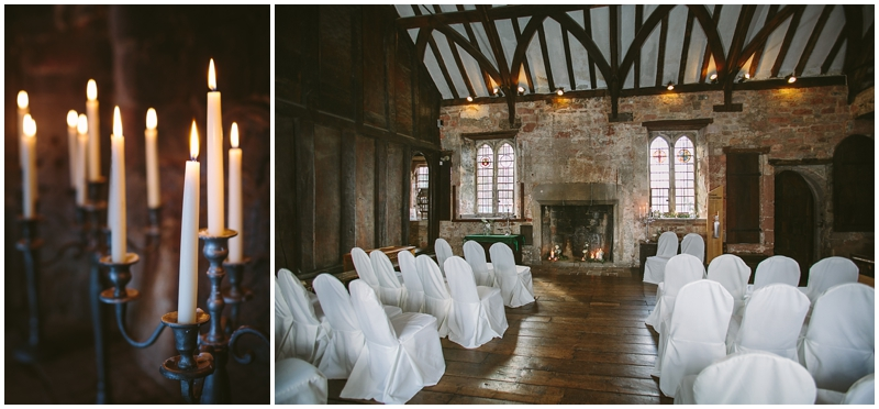 Candles lit for wedding ceremony in the Great Hall