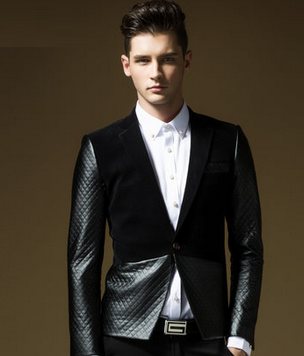 Mens Modern 2 Tone Black Blazer Leather/Velvet Quilted