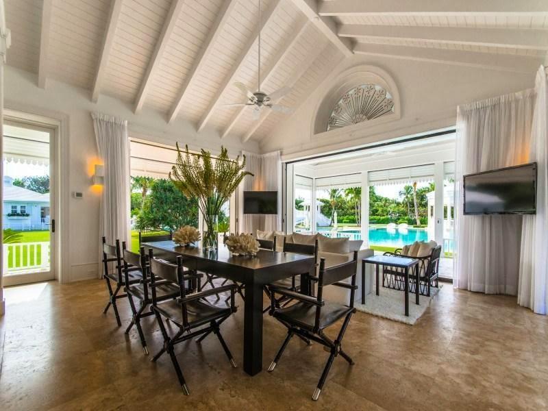 Black dining table in Custom built celebrity home for Celine Dion