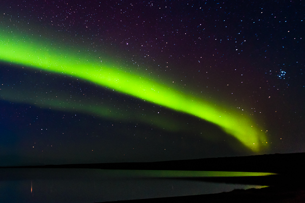 the auroral arc over Másvatn lake