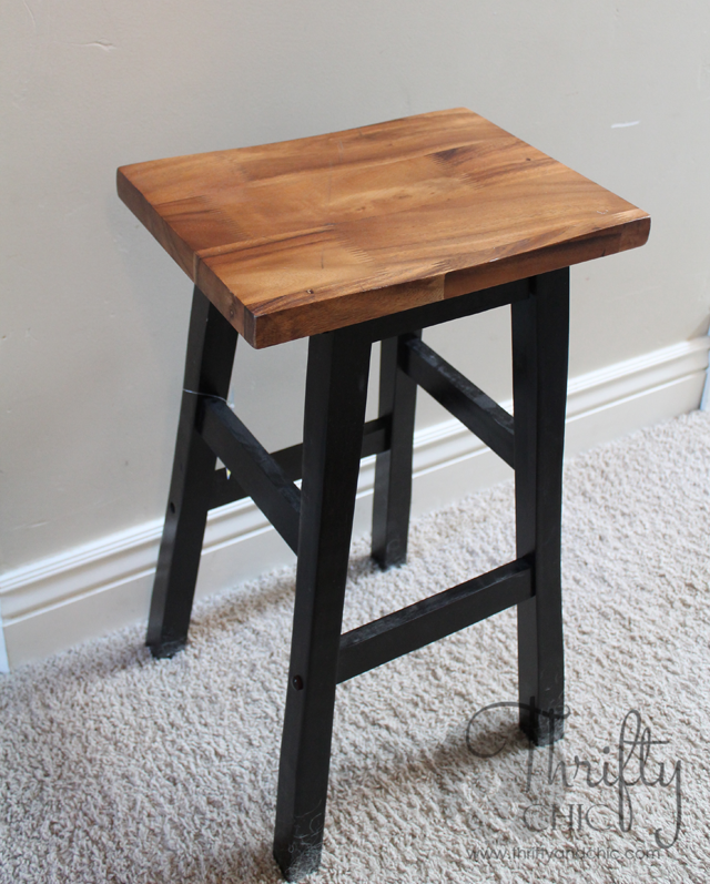 Repurpose an old bar stool into a cute nightstand!