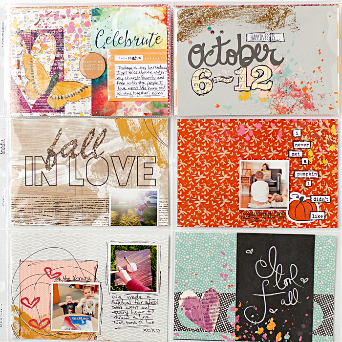 Heather Greenwood Designs | Week 41, October 2014 Project Life weekly pocket scrapbook album using Heidi Swapp Panoramic Design C photo pocket page