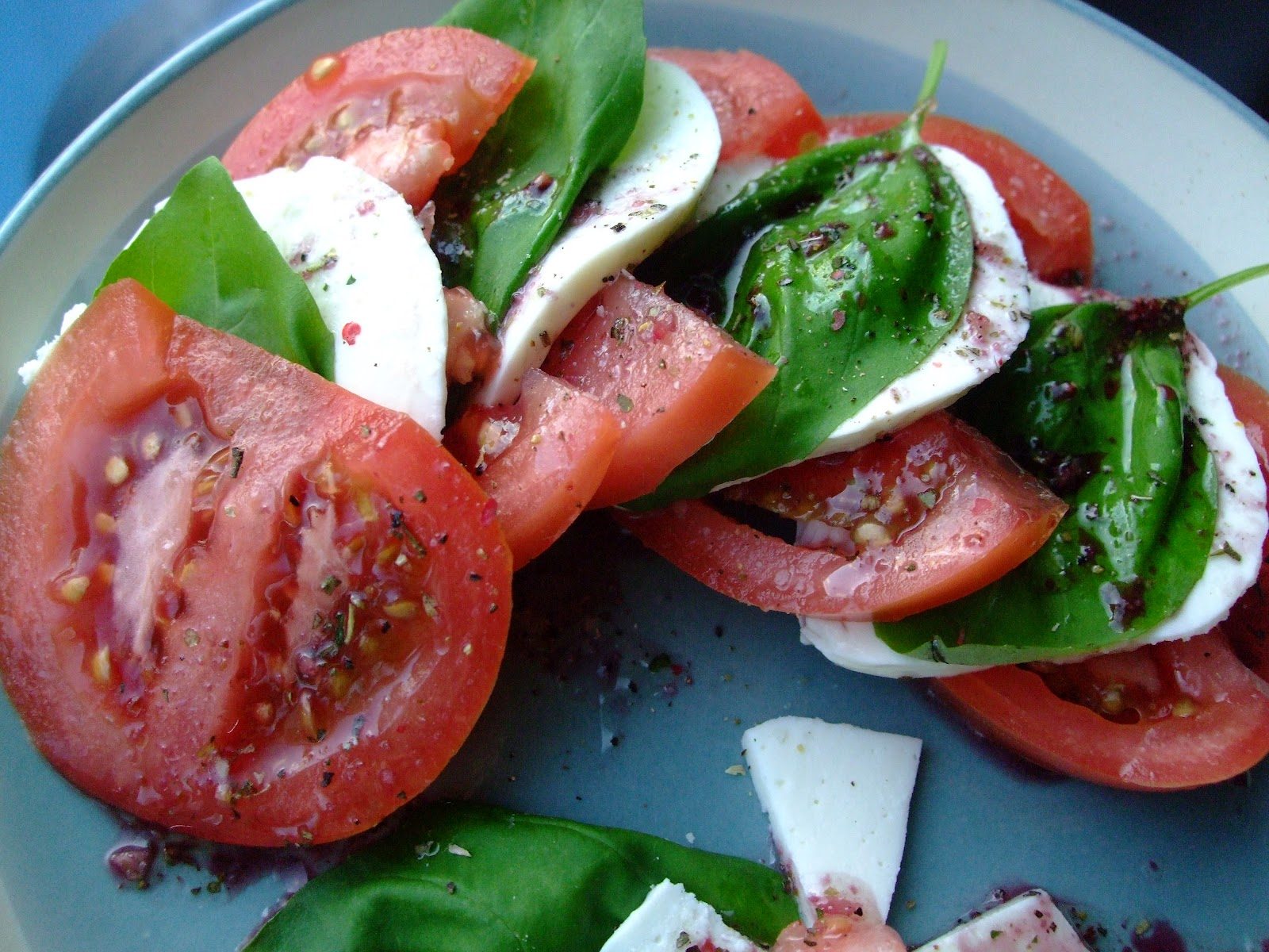 my homemade caprese salad with red wine vinaigrette