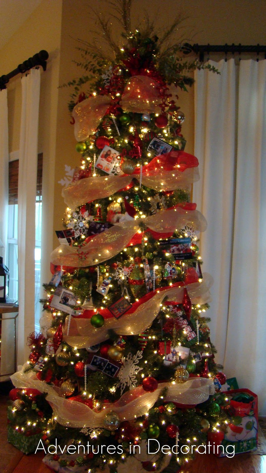 How To Decorate Christmas Tree With Poly Mesh Ribbon : Adventures in decorating christmas great room