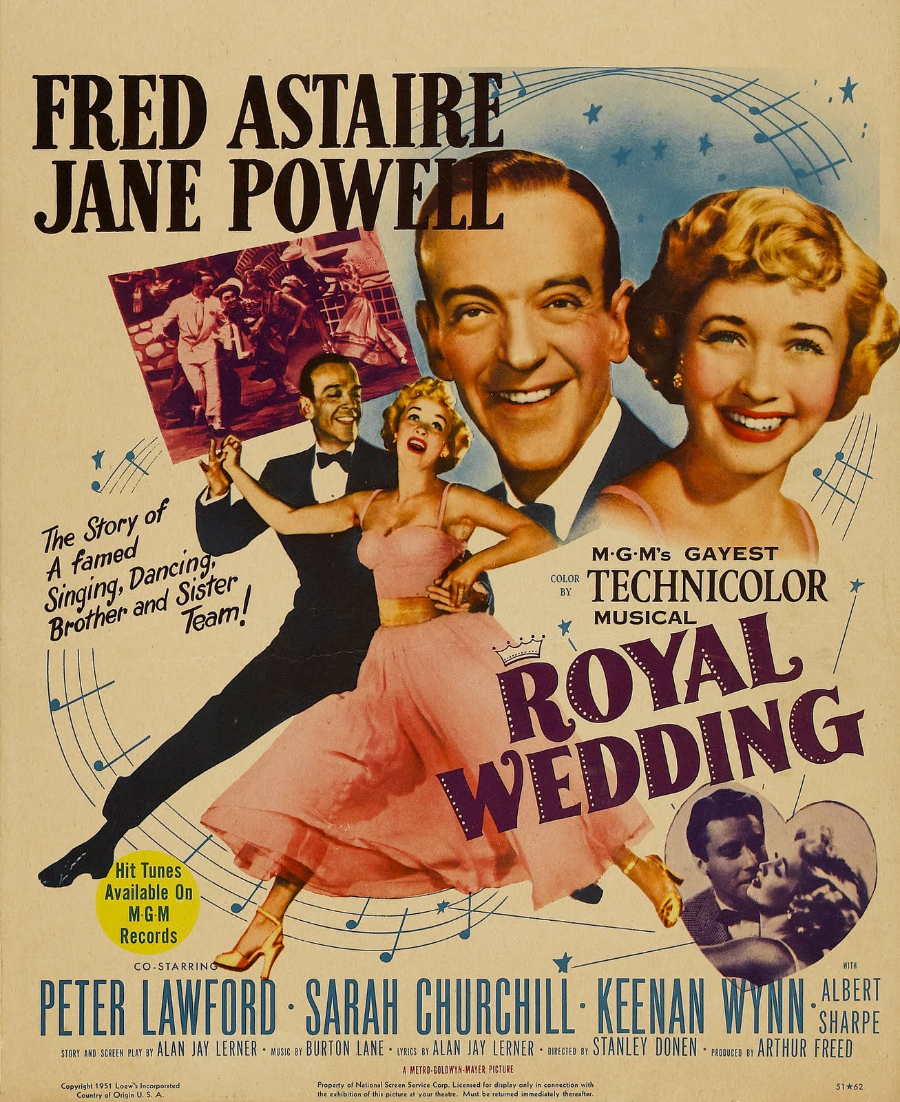 Royal Wedding (1950) by Stanley Donen with Fred Astaire &amp; Jane Powell dans Cinema royal+wedding