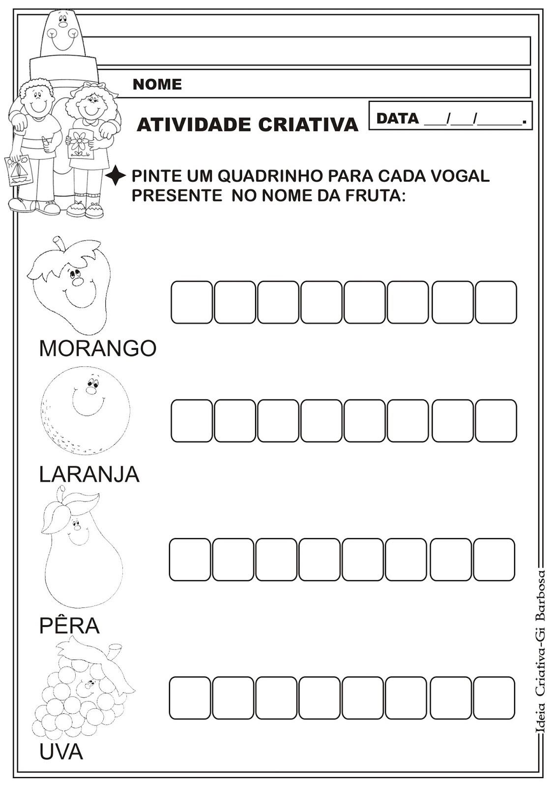 Well-known Atividade Identificando Vogais/ Projeto Alimentação Saudável  NW07