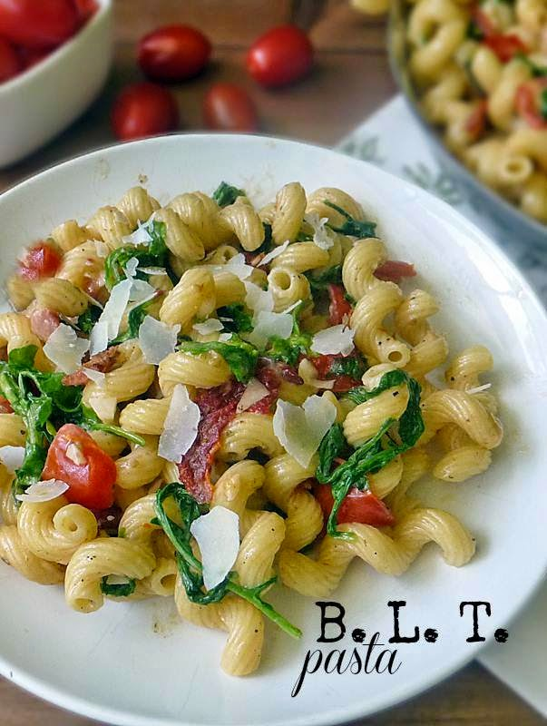 Bacon Lettuce and Tomato Pasta is loaded with all the perfection of a ...