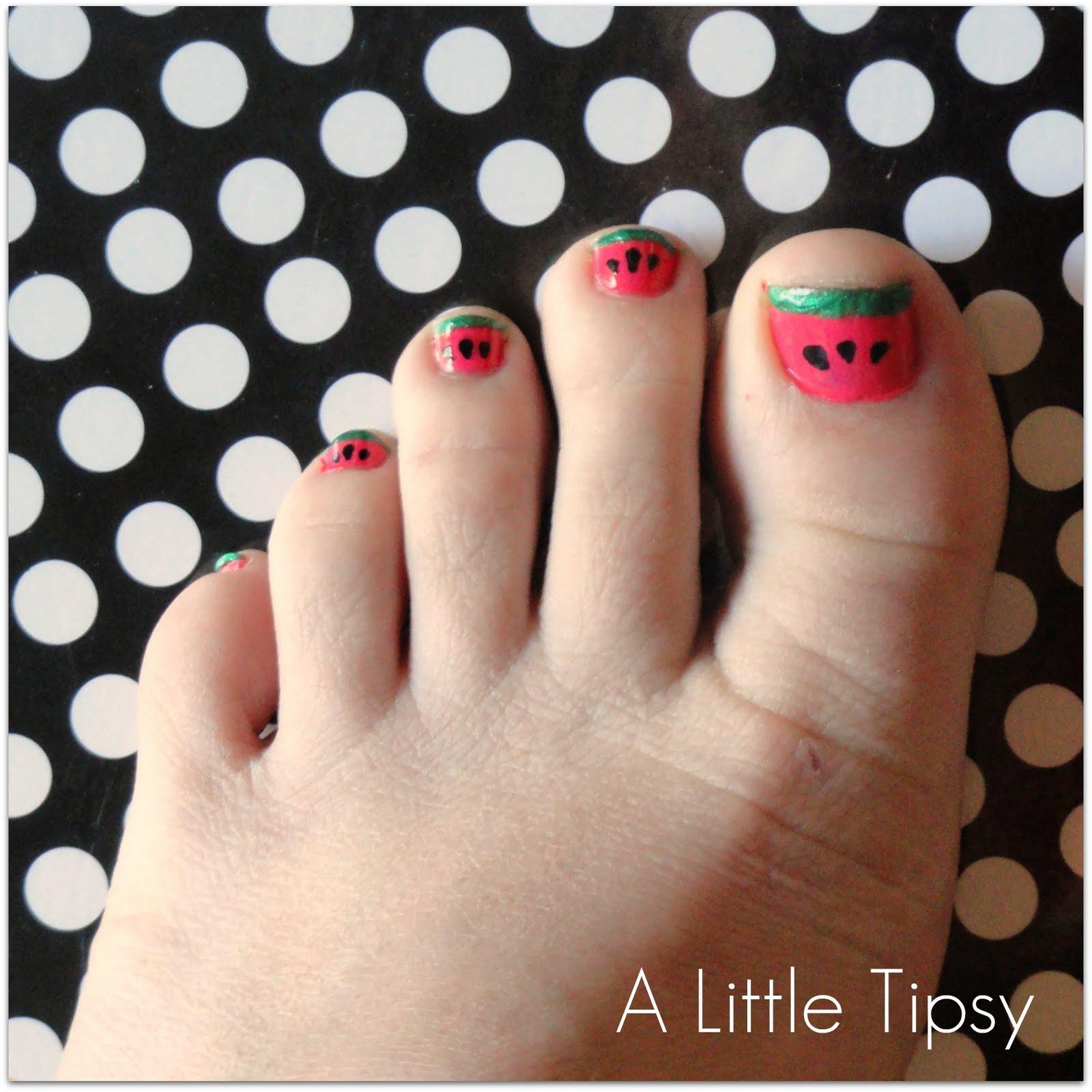 diy under 5 watermelon toenails
