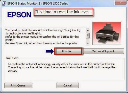 Cara Reset Ink Level Printer EPSON l350