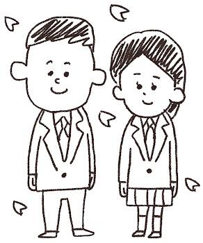 新入生のイラスト(中学生・高校生)線画