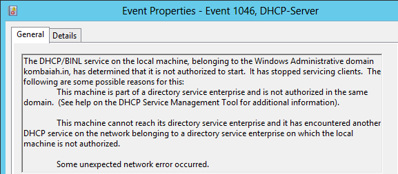 Event ID 1046 - DHCP Server