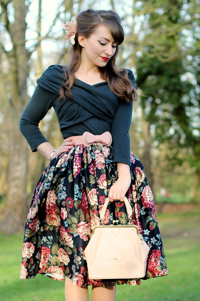 Collectif pin-up style outfit with Celina top and Jasmine floral skirt