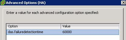 VMWare HA Advanced Options