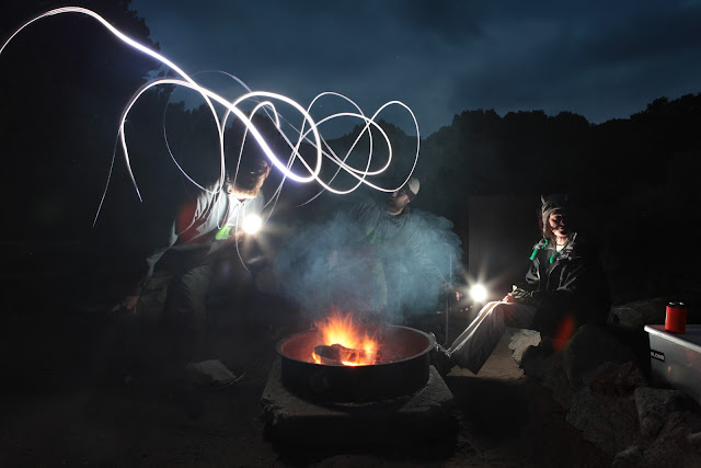 Another light painting scene around a campfire while National Park camping at the Sand Dunes.
