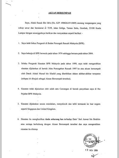 Anwar Dedah Akuan Sumpah Bekas Pengarah Siasatan Bpr Rm3