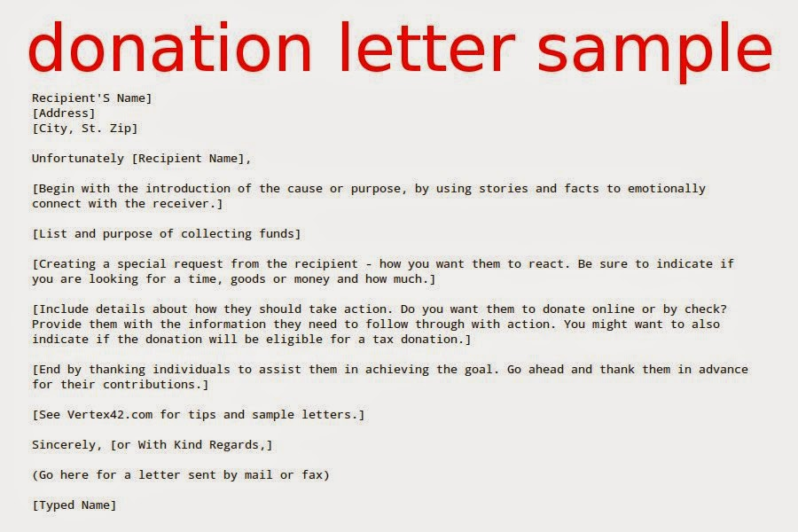 Donation Letter Sample  Samples Business Letters