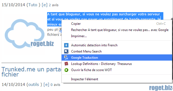 Google traduction (redirection vers google traduction)