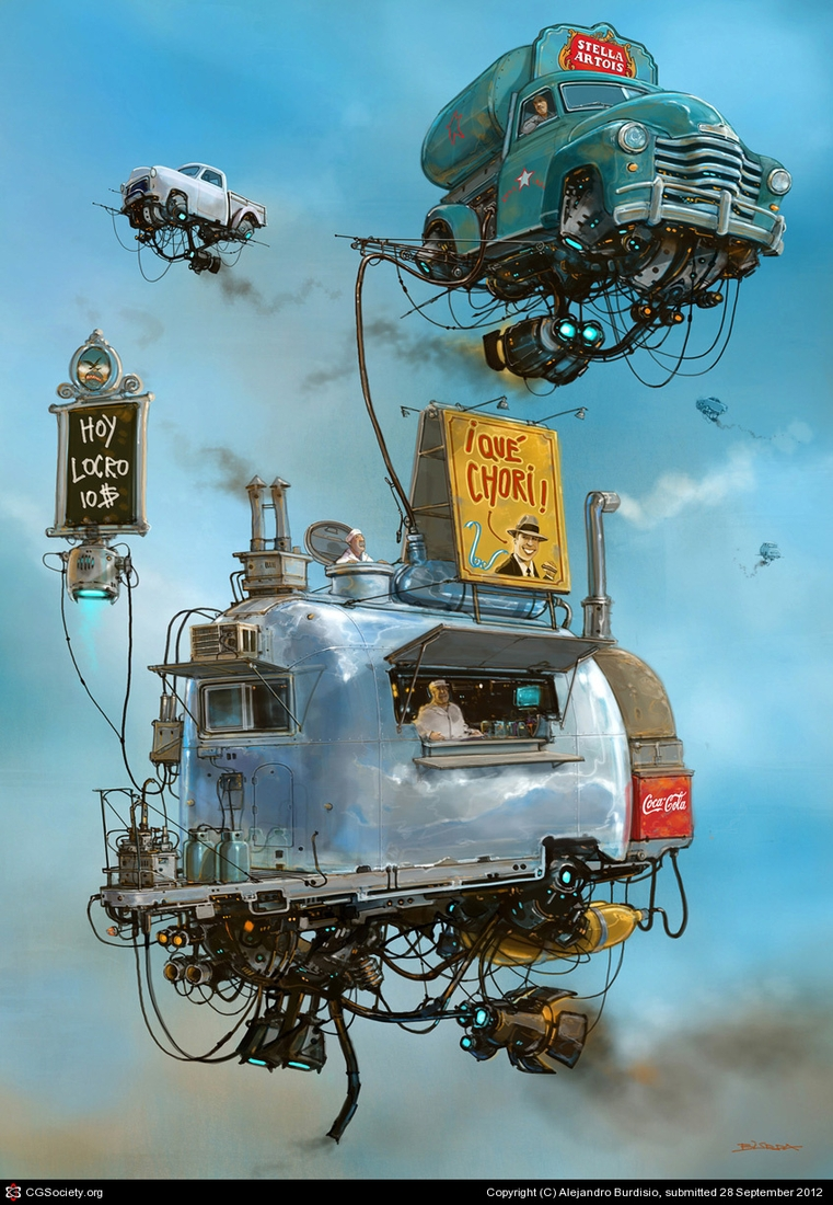 12-Puesto-de-Chori-Alejandro-Burdisio-Fantasy-Illustrations-in-the-Scrap-Metal-Universe-www-designstack-co