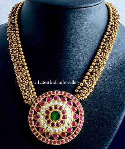 Ruby Pendant Gold Balls Necklace