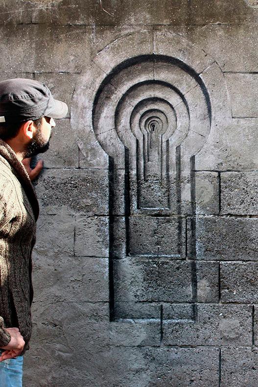 Ilusiones trompe-l'œil de ventanas y de cerradura en las calles de Estambul por Pejac