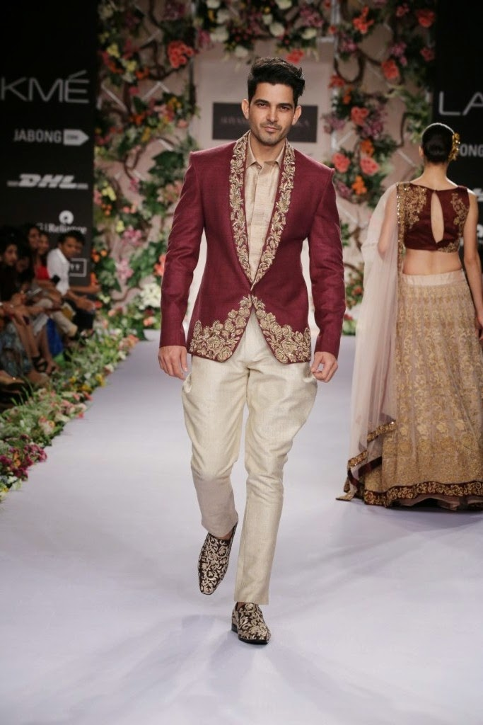 The eight men's wear outfits were regal with jackets, being in the forefront with Zari embellishments/floral dori work and worn with pleated shirts, trousers or polo pants.