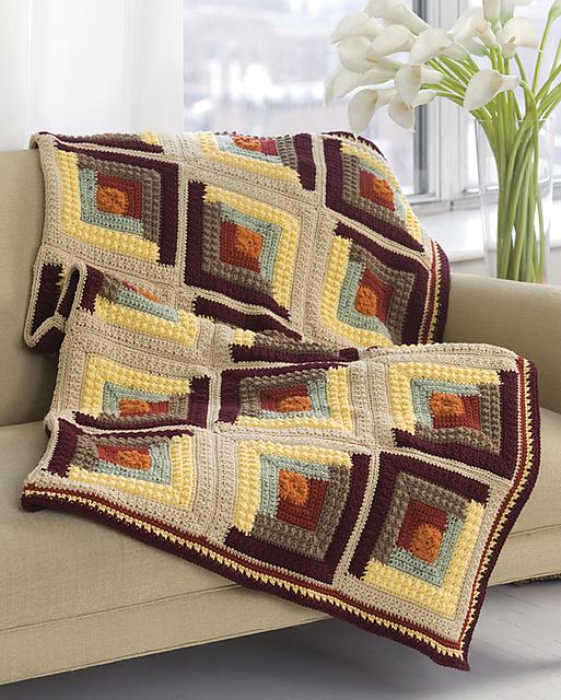 Fiber flux awesome autumn afghans 16 free crochet for Log cabin blanket