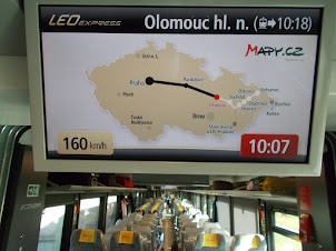 """""""LEO EXPRESS TRAIN"""" electronic display  of train route and speed."""