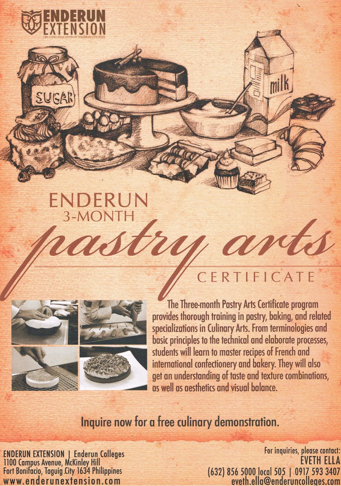 Enderun discover cuisine enderuns 3 month pastry arts certificate flyer xflitez Image collections