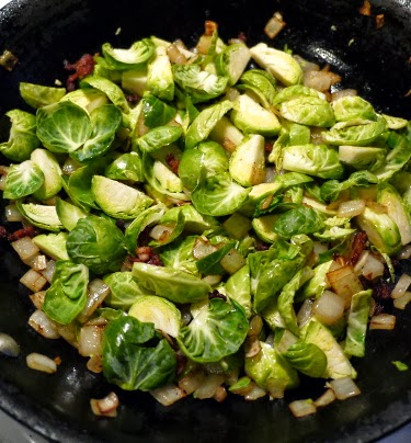 brussels sprout, bacon, onion, and apple hash