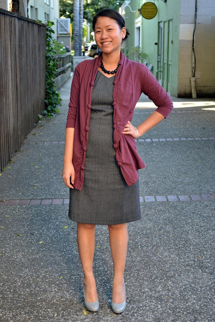 sacramento office fashion blogger angeline evans the new professional mossimo gray dress herringbone three dots sweater gray pumps